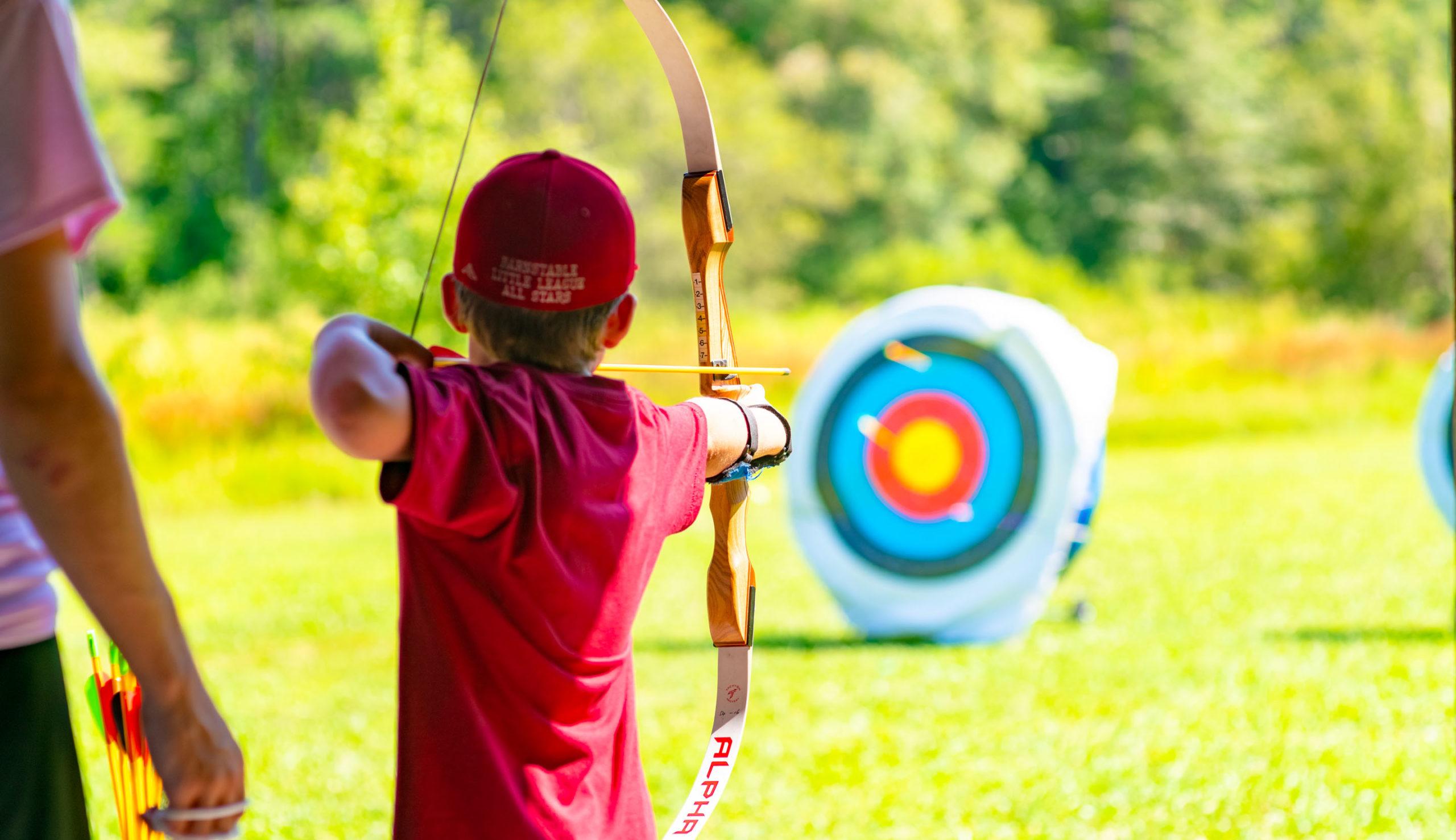 Camper at archery practice