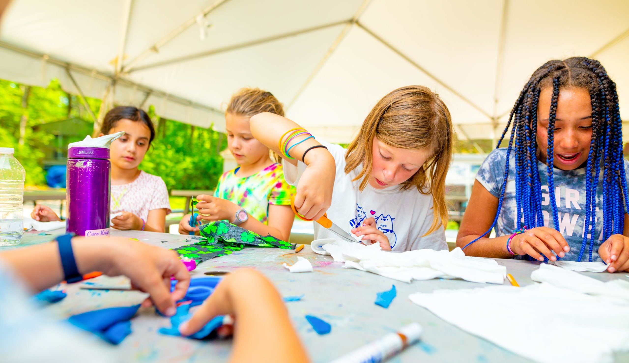Campers doing crafts