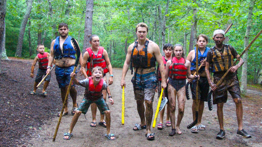 Group of kids hiking